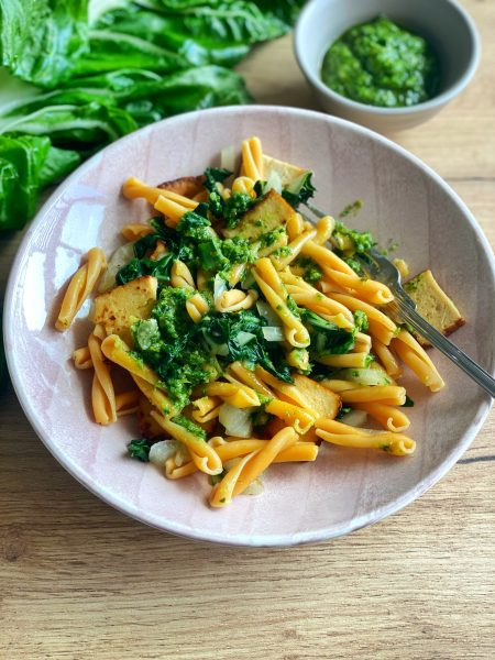Kichererbsen pasta mit Bärlauch Pesto