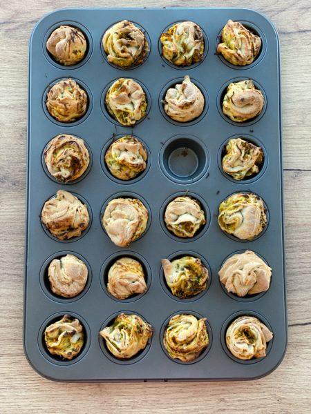 Mini Hefeschnecken, Gemüse, mini Muffinform, Hefeteig - ANA+NINA