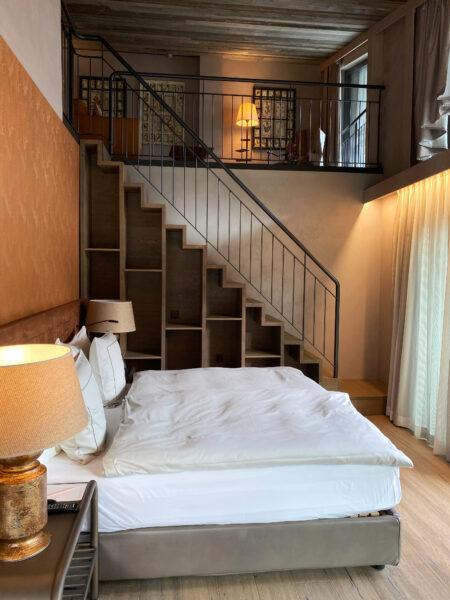 Schlafzimmer, Bett im Hotel