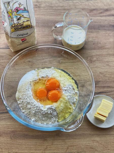 Zutaten für ein Mais Brioche Rezept, Hefe, Eier, Rheintaler Ribelmais AOP, Salz, Zucker und Rahm
