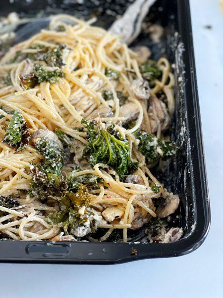 Grünkohl Feta Auflauf mit Pasta