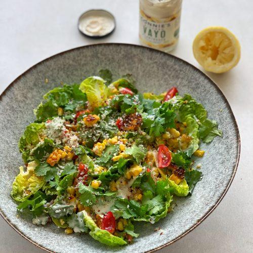 Salat, Mais, Grill, vegan, VAYO, Dressing