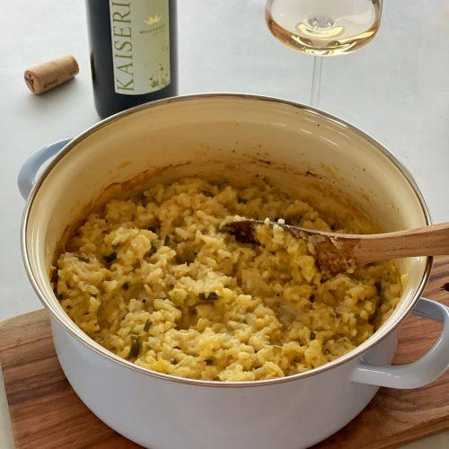 Risotto, One Pot, Zucchini, Wein, Italien, Schweiz