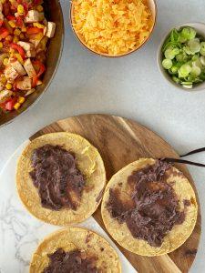 Fajita, Mexikanisch, Gemüse, Bohnenpüree